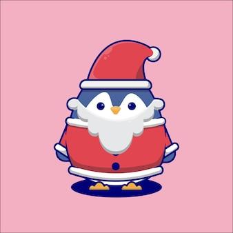 Pingouin de dessin animé mignon portant un costume de père noël