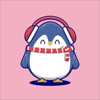 Pingouin de dessin animé mignon portant des écouteurs