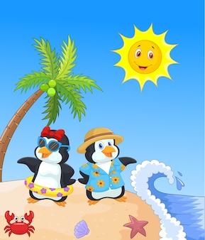 Pingouin dessin animé mignon en vacances d'été