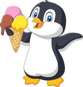 Pingouin de dessin animé tenant un cornet de crème glacée avec trois cuillères de crème glacée