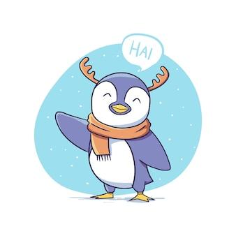 Pingouin d'hiver mignon avec le personnage de bois de renne dit bonjour l'illustration de l'autocollant