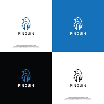 Pingouin logo vecteur desain inspiration
