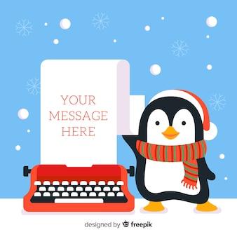Pingouin et machine à écrire