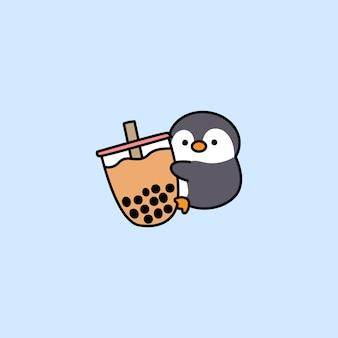 Pingouin mignon aime la bande dessinée de thé à bulles