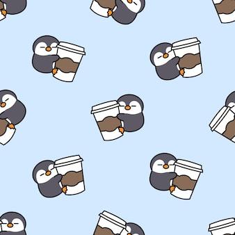 Pingouin mignon aime le modèle sans couture de dessin animé de café