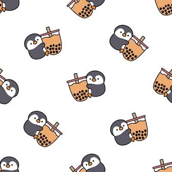 Pingouin mignon aime le modèle sans couture de dessin animé de thé à bulles