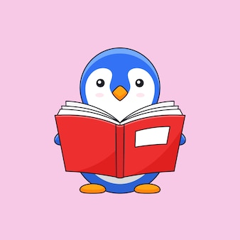 Pingouin mignon appréciez lire la mascotte d'illustration de contour de livre épais