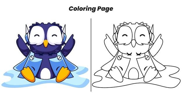 Pingouin mignon au repos avec des pages à colorier