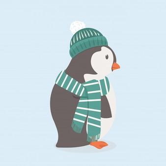 Pingouin mignon avec chapeau vert et écharpe