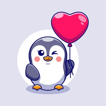 Pingouin mignon avec des ballons