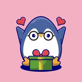Pingouin mignon de bande dessinée heureux d'obtenir des cadeaux