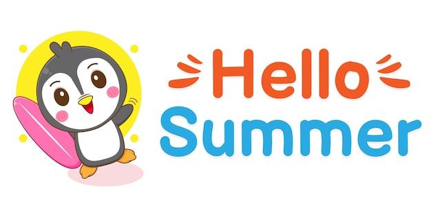 Pingouin mignon avec bannière de voeux d'été