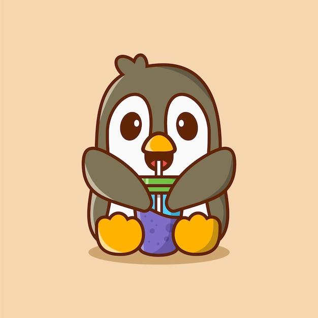 Pingouin mignon boire illustration vectorielle de glace tasse dessin animé