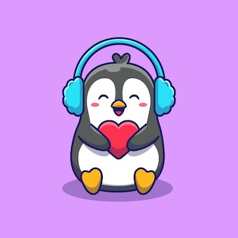 Pingouin mignon avec cache-oreilles tenant illustration d'icône d'amour. concept d'icône animale isolé. style de dessin animé plat