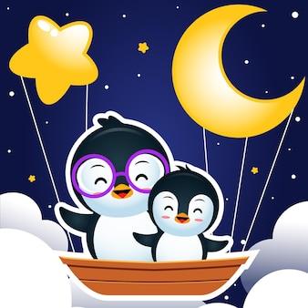 Pingouin mignon à cheval sur un bateau volant dans la nuit