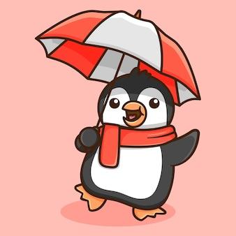 Pingouin mignon avec la conception de parapluie