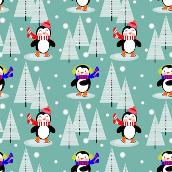Pingouin mignon dans le modèle sans couture de noël hiver.