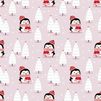 Pingouin mignon dans le modèle sans couture saison de noël