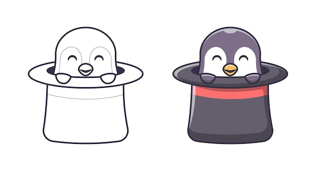 Pingouin mignon dans les pages de coloriage de dessin animé de chapeau pour des enfants