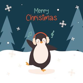 Pingouin mignon de danse de noël avec des écouteurs
