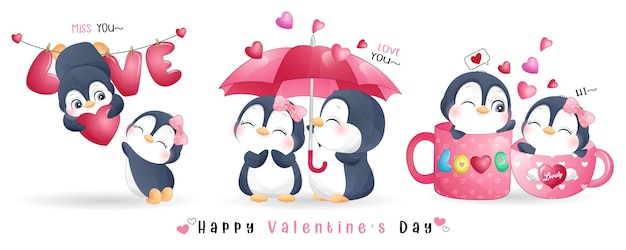 Pingouin mignon doodle pour la collection de la saint-valentin