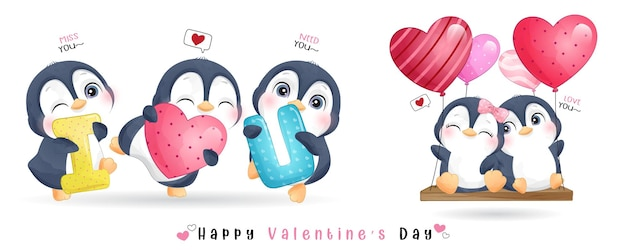 Pingouin mignon doodle pour la collection de la saint valentin