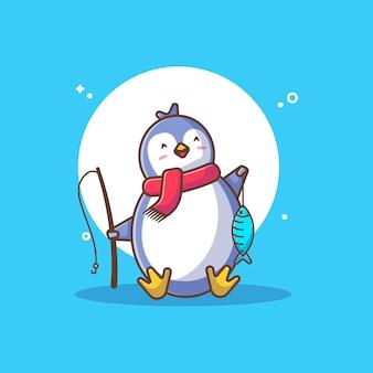 Pingouin mignon avec écharpe et poisson