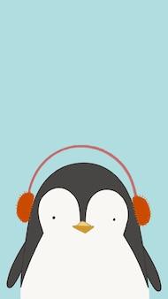 Pingouin mignon écoutant de la musique fond d'écran de téléphone portable