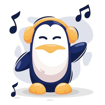 Pingouin mignon écoute musique mascotte cartoon
