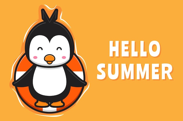 Le pingouin mignon flottant se détend avec une illustration d'icône de dessin animé de bannière de voeux d'été