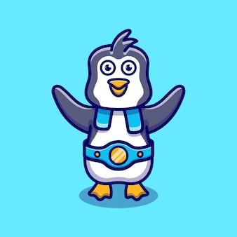 Le pingouin mignon gagne le match de boxe