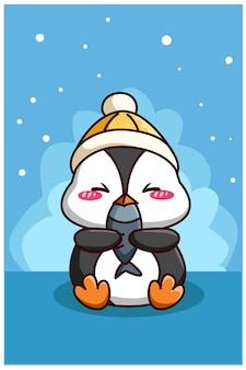Pingouin mignon et heureux avec illustration de dessin animé de poisson