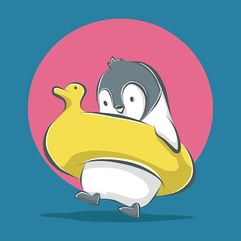 Pingouin mignon avec illustration d'icône de dessin animé de bouée