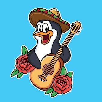 Pingouin mignon joue de la guitare en bleu