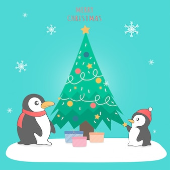Pingouin mignon joyeux noël