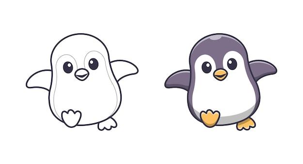 Le pingouin mignon marche des pages de coloriage de dessin animé pour des enfants