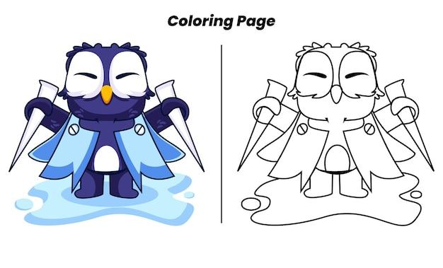 Pingouin mignon surfant avec des pages à colorier