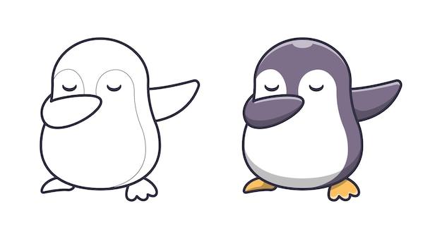 Le pingouin mignon tamponne des pages de coloriage de dessin animé pour des enfants