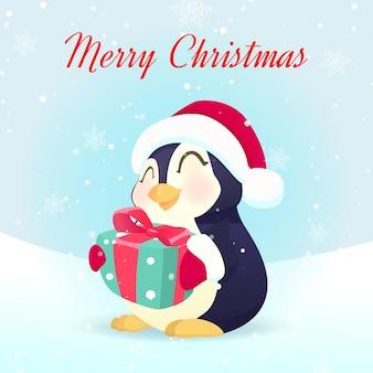 Pingouin mignon tenant une boîte-cadeau