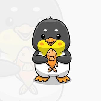 Pingouin mignon tenant un dessin animé de poisson