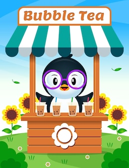 Pingouin mignon vendant du thé à bulles