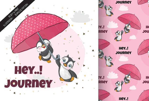Pingouin mignon volant avec parapluie illustrationillustration de fond