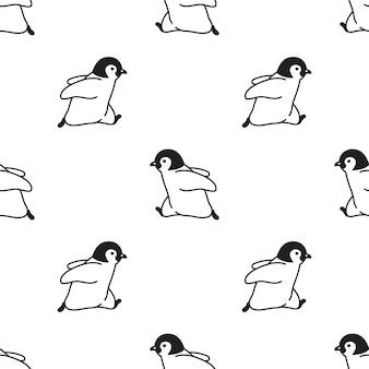 Pingouin modèle sans couture oiseau courir dessin animé