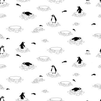Pingouin modèle sans couture oiseau iceberg illustration dessin animé