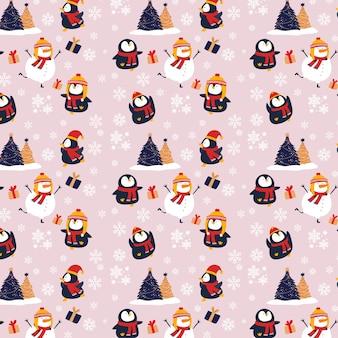 Pingouin de noël, bonhomme de neige et arbre - fond