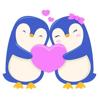 Un pingouin offre un cadeau à sa partenaire le jour de la saint-valentin