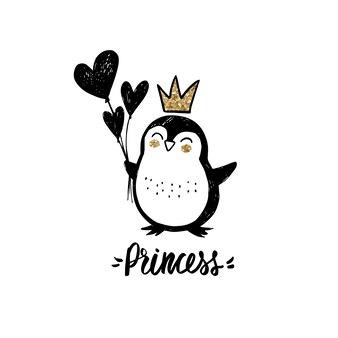 Pingouin à paillettes dorées avec couronne, ballons coeur et lettrage - princesse isolé sur blanc.
