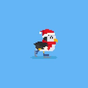 Pingouin Patineur Pixel Avec Echarpe Rouge Et Chapeau Christmas Vecteur Premium