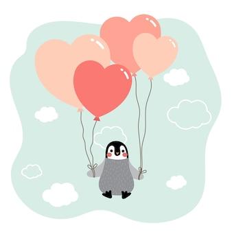 Pingouin avec le personnage de dessin animé de ballon