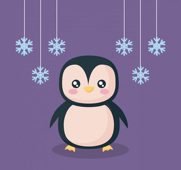 Pingouin avec personnage de flocons de neige